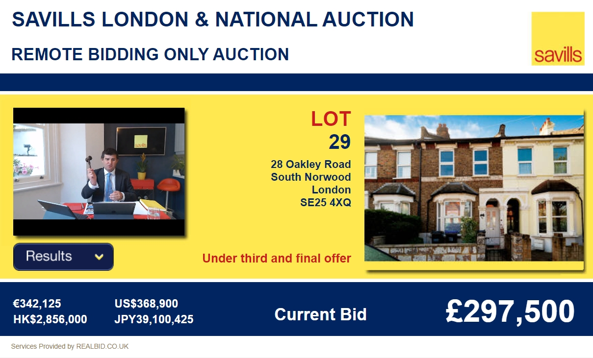 Savills remote bidding auction